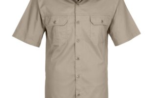 Corporate Clothing - Casual Button Up T-Shirt Beige